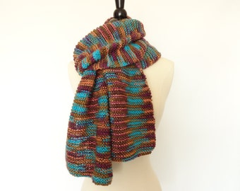 Hand Knit Soft Scarf Turquoise Peach Brown Camel Magenta, Womens Fashion Scarf, Accessories