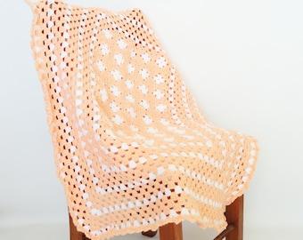 Crochet Baby Blanket Afghan Peach White Granny Squares - BabyGirl Gift, Newborn, Baby Accessories, Crib Bedding, Nursery Decor, Lap Afghan