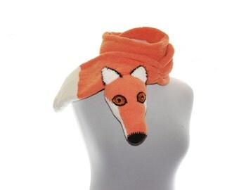 Knitted Scarf  / Hand knit fox Scarf / Fuzzy Soft Scarf / orange white / fox scarf / scarf / animal scarf