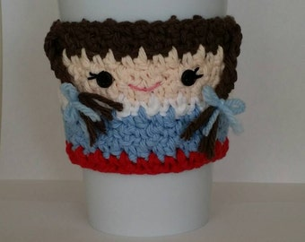 Crocheted Wizard of Oz Dorothy Coffee Cozy
