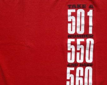 Vintage 1993 Levis 501 Blue Jeans Red Cotton T Shirt M