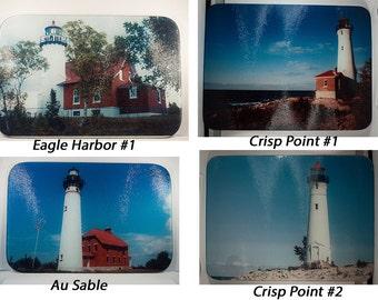 Glass Cutting Board, Michigan Lighthouse Lake Superior Design, Kitchen Décor, Decorative Cutting Board, Serving Tray,