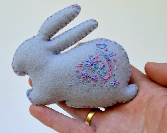 Felt rabbit for easter hand embroidered animal softie