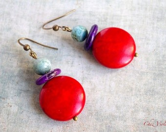 RESERVED MW - Red Boho earrings, Hippie chic earrings, opal stone, blood red, Howlite beads, african blue opal bead