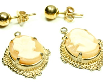 Lovely Antique 14k Gold Cameo Earrings - Cameo Jewelry - FREE SHIPPING