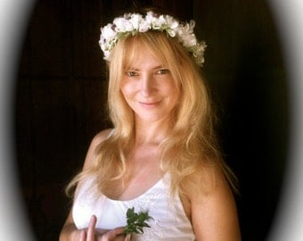 White Flower Wedding Headband With Veil Bridal Head Piece