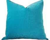 Turquoise Pillow - Turquoise Velvet Pillow Cover - Solid Pillow Cover - Teal Decorative Pillow - Throw Pillow - Blue Pillow
