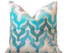 Designer Blue Pillow - Turquoise Geometric Ogee Pillow Cover -  Teal Cut Velvet Pillow - Ombre Geometric Aqua Pillow