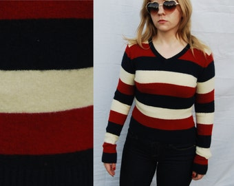 Warm America Soft Red White and Blue V Neck Long Sleeve Knit Sweater