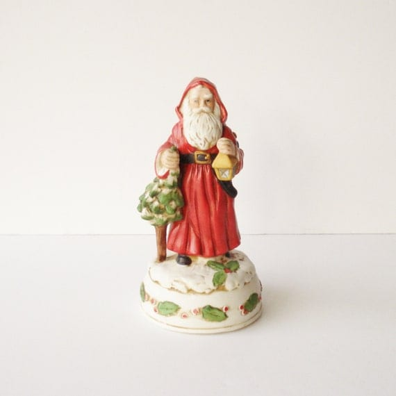 Vintage musical santa claus figurine father christmas
