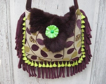Lime green eggplant gypsy bag purse, chenille fabric bag with genuine fur, purple bohemian boho bag, crossbody purse