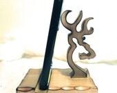Country Rustic Browning Deer Wood Carving Cellphone Holder Standee Display