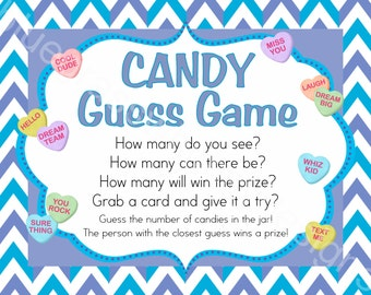 Valentine Candy Game & Entry Cards- Guess How Many, Printable Class Party Game