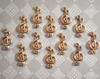 8 Goldplated 19mm Musical Clef Charms