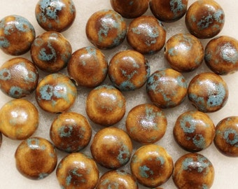 African Ceramic Beads Made In Kenya (10), Brown-Blue Ceramic Beads (A96)