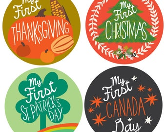 My First Holiday CANADA Baby Milestone Stickers For Baby Boy or Baby Girl - First Holiday CANADA
