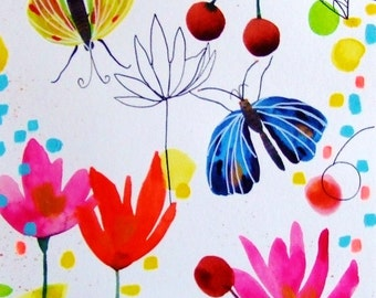 Flowers Butterflies Watercolor Painting Ink Original Art Nature Insects Flowers Decor Pink Blue Cherries Fruits Wall Art Butterfly Fine Art