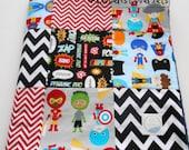 Minky Baby Boy Blanket Quilt Robert Kaufman Super Kids Red Blue Gray Black 2 Sizes--Made to Order
