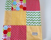 Unisex Baby Patchwork Minky Blanket Quilt Riley Blake Hexi Rainbow Dots Chevrons--Ready to Ship