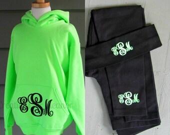Monogram Sweatshirt, Hoodie, Girls Hoodie Sweatshirt, Girls Monogrammed Hooded Sweatshirt and Monogrammed Leggings, Girls Monogram Set