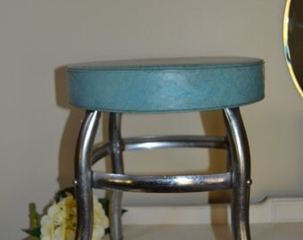 Metal Stool Aqua & Chrome Stool Mid Century