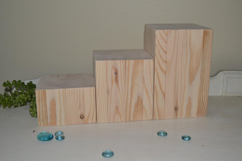 Three natural wood blocks centerpiece candle holders wedding