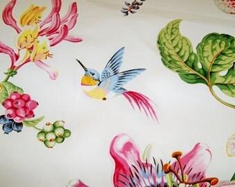 BRUNSCHWIG FILS PARFUM D Ete Birds Toile Fabric 10 yards White Blue Rose Multi