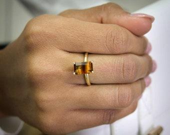 SUMMER SALE - gold rectangle ring,tiger eye ring,rectangular rings,gold rings,gemstone rings,natural stone ring,prong ring
