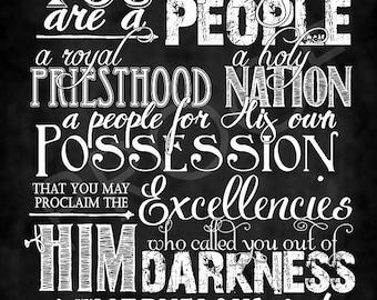 Scripture Art - I Peter 2:9 Chalkboard Style