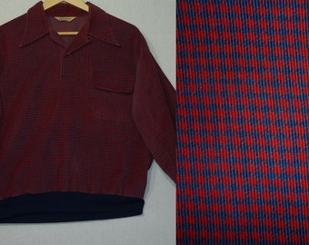 1950s Shirt / L / Gaucho Shirt / Corduroy / Rockabilly Shirt / Juvenile Delinquent / Vintage 1950s Mens Shirt / JD / 1940s Shirt / Gaucho