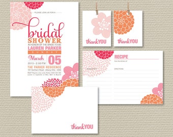 Printable Bridal Shower Invitation, Recipe Card, Thank You Card, Favor Tags, Floral Invite, Pink & Orange (PP61)