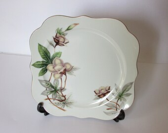 """WOODROSE MEITO Square Salad  Plates 8 1/4"""" Pink and Tan Flowers Green Leaves"""