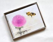 Watercolor honey bee on aster notecards, set of 10, eco-friendly