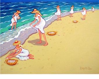 Women on Beach Collecting Seashells Colorful Coastal Glicee Print 8x10 16x20 from original painting - Sisters of the Sea - Korpita ebsq