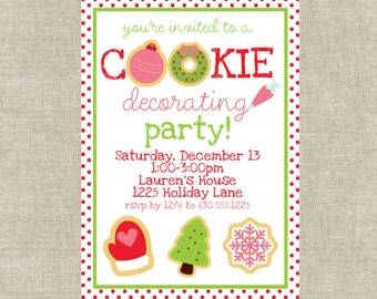 Christmas Cookie Decorating Party Invitation PDF Digital File
