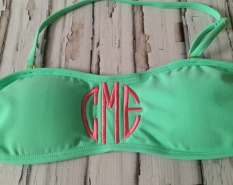 Monogram Bandeau Bikini Swim Top  Mint