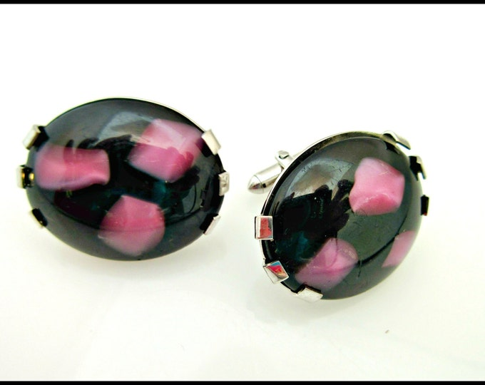Swank Oval Cufflink of Purple Black glass Cabochons