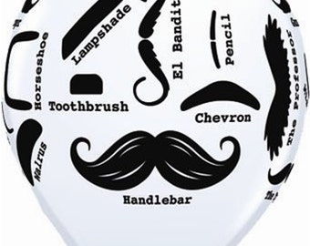 12 Moustache Balloons - White with Black Print