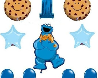 Sesame Street Cookie Monster first birthday party supplies balloons one 1st