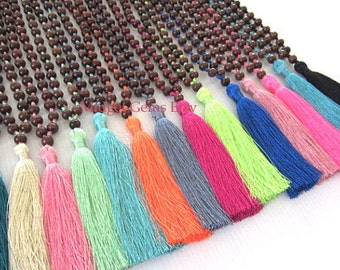 Mala Tassel Necklace 10 Necklace BOHO Bead Necklace Prayer Beads Long Tassel Necklace Yoga Necklace Wholesale Jewelry,Assorted Colors