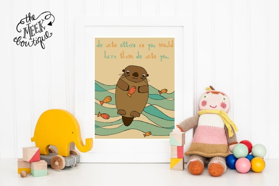 INSTANT DOWNLOAD, Golden Rule Digital Art Printable, Do Unto Otters, No. 65