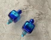 Cobalt and Aqua Blue Dangle Earrings, Silver Foil Venetian Glass Cubes, Murano Glass and Gemstone Dangle Earrings with 925 Sterling Silver