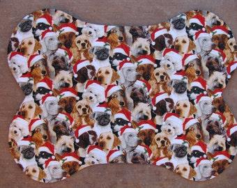 Dog Pet Bowl Feeding Placemat, Christmas Dog Mat, Bone Shaped Place Mat, Santa Hats. Reversible, Dog Bowl Mat, Christmas Puppies,  Large