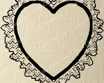 Valentine Illustration, Lacey Heart, Instant Download, Clipart, Digital Transfer Image for Papercrafts, Pillows, Fabric, Iron on 334