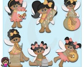 Pixie Village Sewing Pixies AA African American  Clip art  Clipart Graphics  Commercial Use
