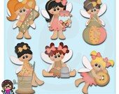 Pixie Village Sewing Pixies    Clip art  Clipart Graphics  Commercial Use