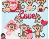 2015 Monkey Love Valentine  Clip art  Clipart Graphics  Commercial Use