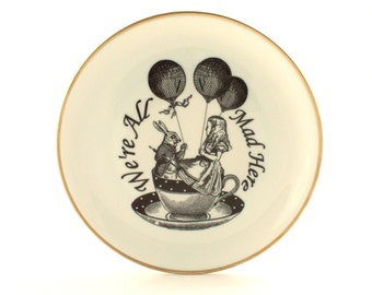 Recycled Alice in Wonderland March Hare Vintage Porcelain Plate Home Decor Bridal Shower Sugar-White Romantic