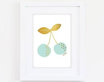 Sweet Cherries - Mint - 2 sizes A4 & A3