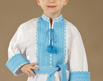 Ukrainian embroidered shirt for boys. cotton. Color of embroidery red, brown, black, blue, green. Men vyshyvanka